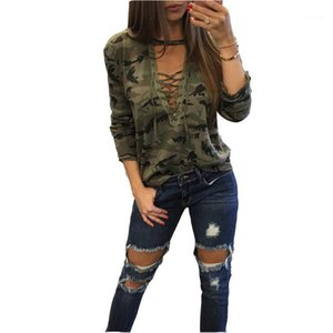 Camo Sweatshirt V-Neck Lace-up Hoodies Pullovers Female Long Sleeve Bandage Tracksuits Jumper Tops Sudaderas Mujer A11