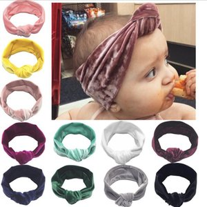 Baby Headbands Gold Velvet Knotted Headband Wide Hair Bands Turban Solid Infant Headwear Baby Girls Hair Accessories 11 Colors BT4970
