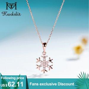 Kuololit Natural Diamond Solid Gemstone Pendants For Women Luxury Rose gold snowflake Engagement Fine Jewelry Christmas gift LJ201016