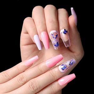 24pcs false nails with designs Ballerina Nails detachable False Nail Tips With Glue Press on Art Fake Stickers TY