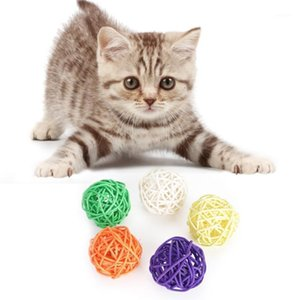 5pcs lot Pet Cat Toys Fashion Woven Rattan Ball Toy For Cat Toy Ball Pet Supplies1