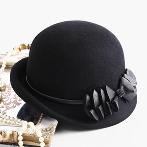 2020 Best BECKYRUIUWU Lady Herbst Chic Unregelmäßiger Krempe Fedora Hüte Frau Party Formale Top Note 100% Wollfilzhut