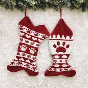 Christmas Hanging Knitted Socks Wool Socks Jacquard Christmas Sock Gift Bag Merry Xmas Hanging Ornament Decoration FFA542
