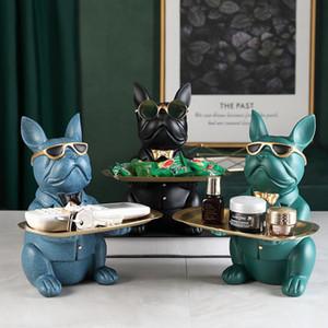 Bulldog تمثال الجدول الديكور أزياء النحت المنزل غرفة ديكور متعددة الوظائف التخزين الحلي الرئيسية علبة بنك عملة تمثال