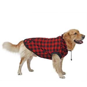 Abbigliamento per cani di grandi dimensioni Abbigliamento per animali domestici Red Blue Dog Grid Abbigliamento caldo Cucciolo rimovibile Cucciolo Cute Cappotti con cappuccio Cappotti a plaid Giacche con cappuccio 6 Taglie 201030