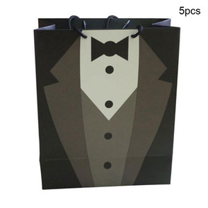 Gentlemen White Wedding Party Supplies Party Gift Bag Home Decor Wedding Tuxedo Paper Gift Carry Bags for Bridegroom 5pcs