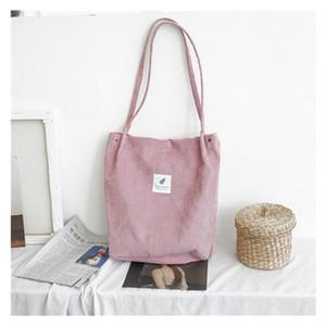Korean women's shoulder bag student literary cloth bag large capacity handbag corduroy shopping bag T200110