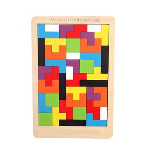 Colorful 3D Puzzle Wooden Tangram Math Toys Tetris Game Children Preschool Imagination Intellectual Educational Toy for Kids