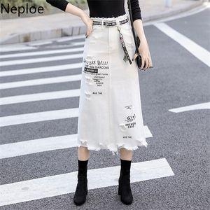 Neploe Women's Hole Denim Skirt 2020 Spring Summer Letter Print White Fringed Female Jupe High Waist Skirts Ladies 80526 A1121