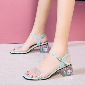 Lucyever Donne Estate Donne Fashion Crystal Square Tacchi Sandali PVC Transparent Open Toe Stivaletti Stivaletti Donna Rhienstone Sandals1