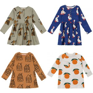 Kids Dressses 2020 Nadadelazos Brand New Spring Summer Girls Cute Lovely Print Long Sleeve Dress Baby Child Cotton Clothes F1130