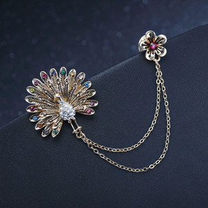 High-End Brooch Womens Colorful Rhinestone Peacock Court Brooch Flower Chain Tassel Collar Pin Clothes Accessories HD