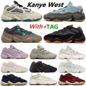 500 500s Kanye West Soft Vision stone Desert Rat Running Shoes bone white Utility Black super moon yellow Mens Sports sneakers Shoe