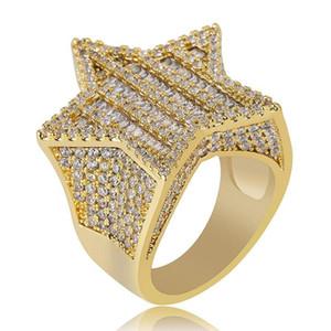 18K Gold & White Gold Mens Bling Pentagram Hip Hop Ring Full Diamond Iced Out Rapper Jewelry Gifts for Boyfrie