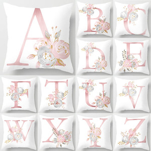 2020 Pillow Letters Pink Floral Decorative Cushions Pillowcase Polyester Cushion Cover Throw Pillow Sofa Decoration Pillowcover