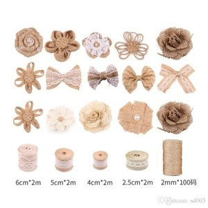 Diy Rustic Wedding Decorations Set Hemp Rope Linen Cloth Roll Simulation Flower Bow Decorated Suit Hot Selling With Variou Pattern 28jx7 J19