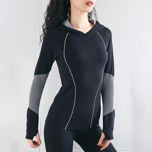 SALSPOR Fitness Women Yoga Shirts Sportwear Longsleeve Quick Dry Trainning Running Gym Hoodie Sport Cycling Thumb Shirts Female