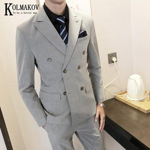 KOLMAKOV Men's Three-piece Suit Double-breasted Solid Color Three-piece Set Formal Dress For Business Career Male Size S-5XL
