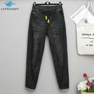 Women Winter Fall Fashion 5XL Large Size Denim Jeans Solid Color Harem Pants Office Lady Elastic High Waist Casual Loose Trouser