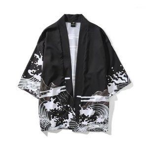 Мужские повседневные рубашки Юката Haori Мужчины японские кимоно кардиган самурай костюм одежды куртка мужская рубашка Haori1