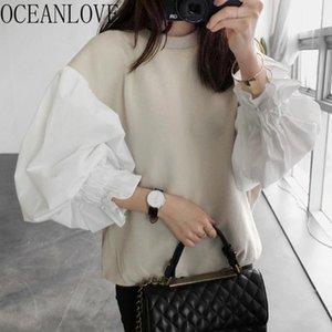 Oceanlove 2020 Sonbahar Hoodie Fener Kol Kore Vintage Patchwork Moda Kazak Gevşek O Boyun Hooides Kadınlar 188961