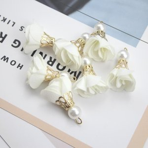 40 шт. Шифон ткань жемчужный цветок кисточек ювелирные изделия DIY Craft Saceates Bringe браслет ожерелье серьги аксессуары мини кисточек H BBYSZG