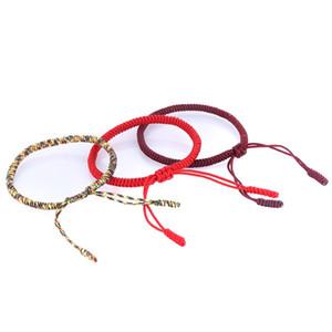 Ручная красная веревка Tibetan Bracelets Тибетский буддийский любовь Lucky Charm Узлы сплетенные браслеты Браслеты для женщин Мужчины Ювелирные Изделия 134 O2