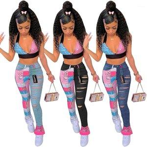 Повседневная женская одежда тощая середина талии Женские джинсы на молнии муха мода панель колоритные брюки уличные новые