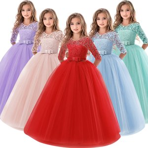 Girls Dresses for Wedding Party Red Christmas Gown Exquisite Communion Luxury Princess Dress Elegant Lace Girls New Year Costume Kids Clothe