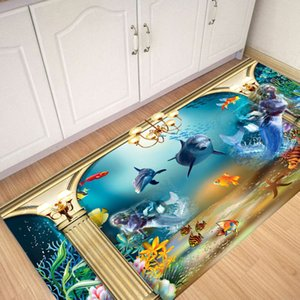Twill Ocean World World Tile Sticker Bathroom Dormitorio Dormitorio antideslizante Pasta Impermeable y desgaste Ristant