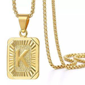 A-Z 26 Initials Pendant Letter Necklace For Women Men Gold Golor Square Alphabet Charm Box Link Chain Couple BFF Jewelry