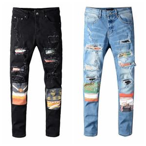 Jeans da uomo skinny angoscia strappato distrutto jeans denim elasticizzato bianco nero blu slim fit hip hop pants biker denim per gli uomini di alta qualità