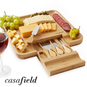 Couteau de découpage de fromage de bambou Cadeau Cadeau Ensemble de viande de charcuterie en bois Charcuterie