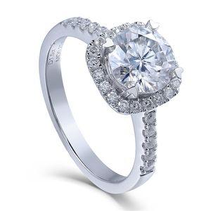 TransGems 14K 585 White Gold 1.5 ct Diameter 7.5mm Lab Grown Moissanite Diamond Engagement Wedding Ring for Women Y200620