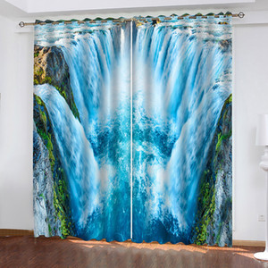 Magnificent And Beautiful Blue Waterfall 3D Curtains For Living Room Bedroom Decor Custom Size Decorative Curtain