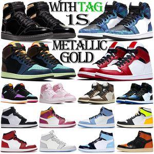 retro 1 1s aj1 jumpman 1s erkekler basketbol ayakkabıları 1 1s açık erkek bayan eğitmenler Metalik Altın Kravat Boyası Chicago moda bayan spor ayakkabı