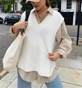 ICCLEK Sonbahar ve Bahar Moda Kadın Dört Renk Örme Katı Renk Rahat Gevşek Streetwear Örme Yelek Üstleri