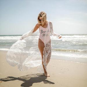 Lace Flower Women Maxi Dress New Mesh See Through Summer Cover Dress Casual Fashion Beach Fits Long Soft Outwear Bather