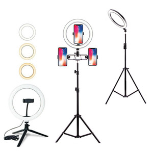 Dimmable LED Ring Light with Tripods Stand Phone Holder Desk USB Selfie Light Ring Lamp Ringlight for Makeup Youtube TikTok Vlog fy8180
