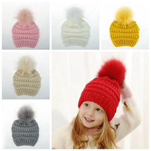 Children Winter Pompom Hat Kids Knitted Woolen Beanie Warm Baby Hat 4-10 Girl Boy Outdoor Wool Skullies DDA767