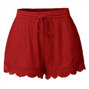 High Waist Shorts Women Summer Plus Size Shorts Lace Sexy Black Sports Rope Tie Sweatpants Fringe Trousers short mujer CD