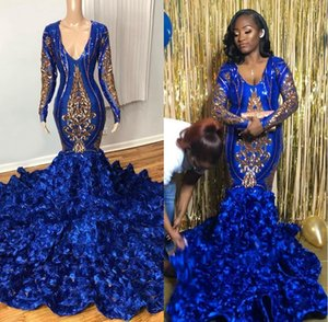 Real Picture Long Elegant Prom Dresses 2020 New Long Sleeve Gold Royal Blue Sequin Black Girl Mermaid Rose Prom Dress