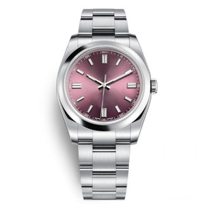 Top Casual Hombre Relojes de pulsera zafiro ostra perpetua automática uva roja rosa dial de oro de acero luminoso luminoso hombres vestido relojes chrono