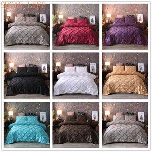 SUGAN LIFE Luxury Black Duvet Cover Pinch Pleat Brief Bedding Set Linen set Comforter Cover With Pillowcase
