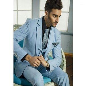 Ternos masculinos feitos sob encomenda feitos sob encomenda do céu azul noivo de tuxedo festa de festa de festa terno homens (jaqueta + calça colete gravata) 1