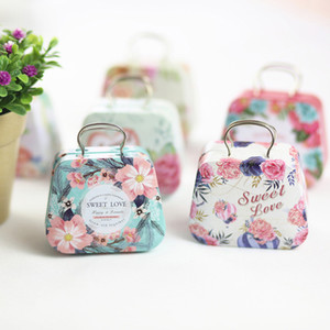 Retro Suitcase Handbag Shaped Candy Box Wedding Favor Gift Boxes Mini Storage Tin Box Small Iron Container