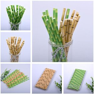 Eco-Friendly 19.5cm Disposable Bubble Tea Thick Bamboo Juice Drinking Straws Milk Straw Birthday Wedding Party Gifts FWD2507