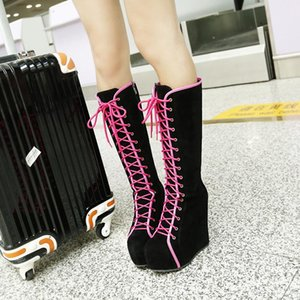 Winter Boots Women High Heels Boots Lace Up Platform Wedges Round Toe Punk Rock Goth Female Knee High Sexy Shoes Size 42