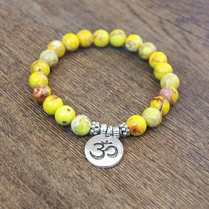 Natural Stone Beads Strand Bracelet Yoga Chakra Mala Prayer Bracelets OM Lotus Women Men Charm Bracelet DIY Handmade Jewelry