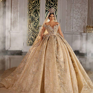2021 Sparkly Ball Gown Wedding Dresse Champagne Off Shoulder Luxury Crystal Beaded Saudi Arabian Dubai Bridal Gown Plus Size